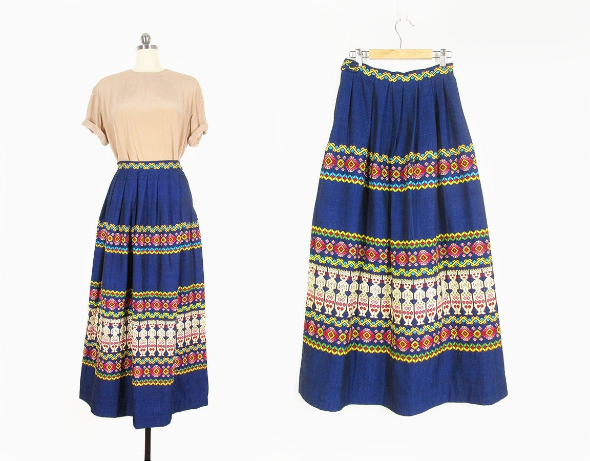 Vintage mexican embroidered tourist skirt s by improvgoods