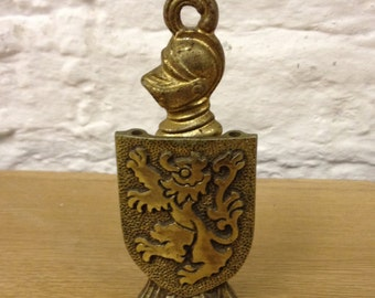 Vintage Brass Knight & Shield Corkscrew / Holder. Great Condition.