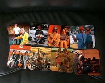 Wes Anderson Coasters - Singles or Sets - The Grand Budapest Hotel, Fantastic Mr Fox, Moonrise Kingdom, The Life Aquatic with Steve Zissou