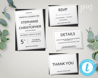 Modern Wedding Invitation Template + RSVP, Plain & Simple, Modern Wedding Template, Everything Editable, Instant Download