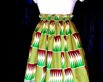 Yellow Kente full gathered skirt