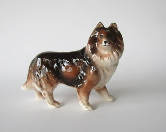 Collie Dog Figurine Porcelain Japan
