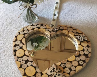 Wooden Heart Mirror with Butterfly Embellishments