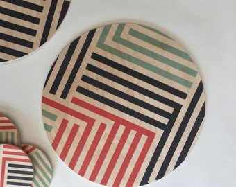LINES wood trivet for hot dish/ geometric trivet or large wood coaster centerpiece/Scandinavian modern coaster/ mid century modern