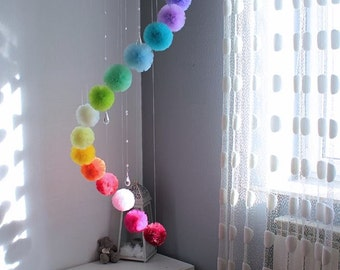 Rainbow Baby Mobile, Large Rainbow Mobile, Baby Decor, Rainbow Nursery Decor, Hanging Centerpiece, Miracle Baby, Pompom Mobile, Pom Pom Art