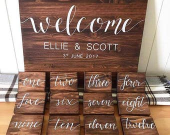 Personalised Welcome sign & Table Numbers // wedding sign // wedding centerpiece // rustic wedding // rustic wedding decor