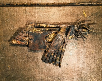 Brutalist Wall Art Sculpture on Canvas - Prehistoric Bird or Insect? - 1967 - Signed - Industrial - Mystery Artist - Steampunk - Estate