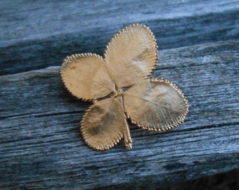 Vintage Shamrock Pin. Real Clover, Dipped in Gold, St. Patricks, Lucky.