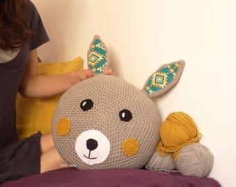 Bunny children's handmade crochet cushion