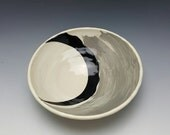 Handmade ceramic bowl with black crescent design by Potteryi. Shallow serving bowl in black and gray. Pottery gift bowl.