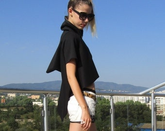 Black Zip-up Hoodie / Asymmetrical Sweatshirt / Full - Zip Womens Hoodie by FabraModaStudio / FAB415