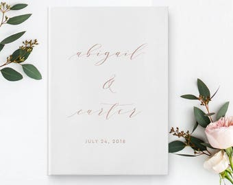 Rose Gold Foil Wedding Guest Book, Calligraphy Guest Book, Wedding Guestbook, Custom Guest Book, Wedding Album, Guest Book, 02