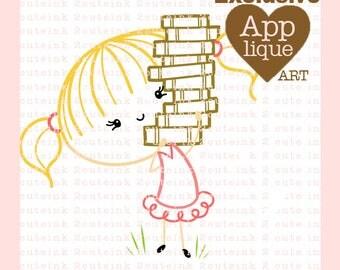 I Heart Books Girl Applique Art - Reading Clip Art- Summer Clip Art - Girl Embroidery Art - Reading Art to digitize