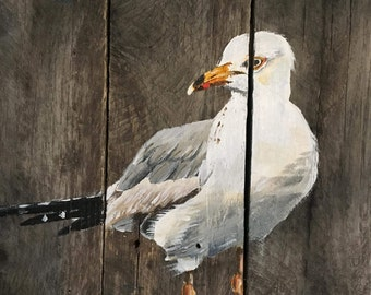 Seagull Pallet Painting, Distressed Wood Art, Pallet Art