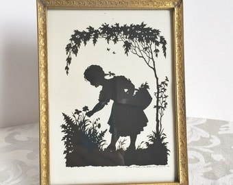 "Vintage Silhouette Picture Under Glass Metal Gold Tone Easel Frame 1930's Art Deco Decor 8"" Picture Frame Girl Picking Flowers"
