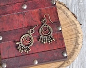 Figure Eight Circle Earrings | Bead Earrings | Antique Gold | Dangle and Drop Earrings