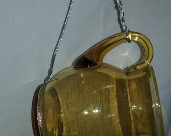 Bird Nest Made from Vintage Reclaimed Repurposed Gold Glass Tea Pot