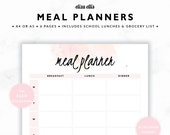 MEAL PLANNERS / Weekly Meal Planner / 2017 Planner / Dinner Planners / Printable Meal Planners / The Cleo Planners in Sherbet / 417