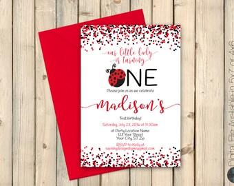 Ladybug First Birthday Invitation, Little Lovebug 1st Birthday Invite, Red Black, Little Lady, February Bday, Printed Invitation or Digital