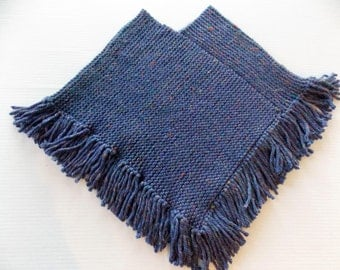 Girl's Hand Knitted Poncho, Girl's Blue Knit Poncho