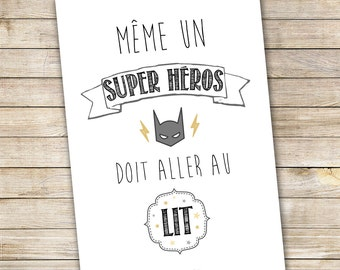 "Poster A3 for child's room ""Even a superhero"""