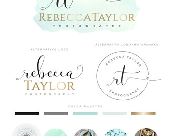 Branding Kit, Watercolor logo, Photography Logo Set, Premade logo, Watermark, Boutique logo kit, Calligraphy Logo, Business Card, Logo 83
