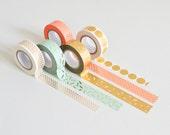 Metallic Washi tape, gold masking tape, confetti washi tape, koral masking tape
