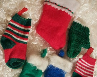 6 Assorted Stockings, Socks, Glove Winter Holiday Christmas Ornaments From 1970's
