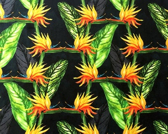 Bird of Paradise Flower Fabric, bold patterned velvet design, colourful textile ideal for cushion, curtains, watercolour floral illustration
