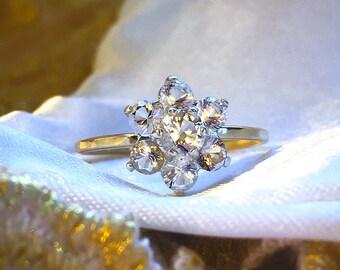 Diamond cluster ring, Herkimer Diamond ring, Diamond 9ct solid gold ring, Engagement ring, Herkimer diamonds 9ct solid Gold Handcrafted ring