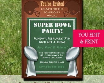 Super Bowl Party Invitation, Super Bowl Invitation, Football Party Invitation, Football Invitation, Game Day Party Invitation, Edit Yourself