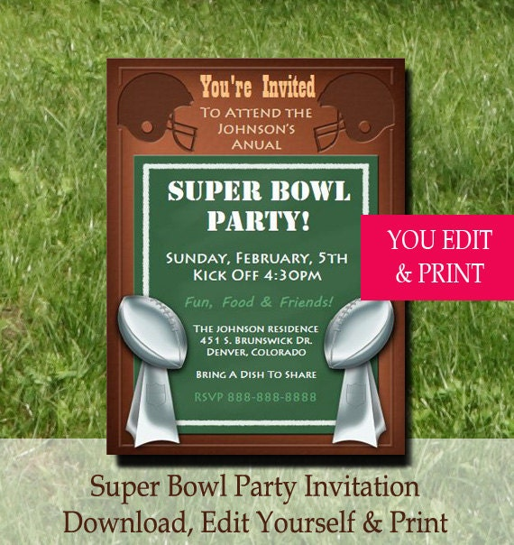 Super Bowl Party Invitation Super Bowl Invitation
