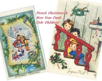 Vintage French Christmas/New Years Cards. Bonne Annee/Noel digital download. Print or email.