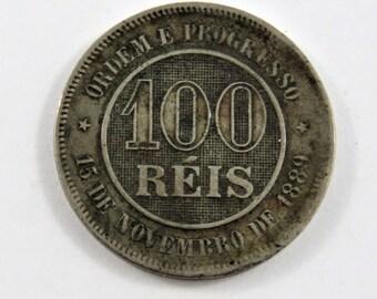 Brazil 1889 100 Reis Coin.