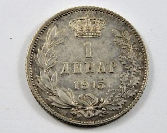 Serbia 1915 Silver Dinar Coin.