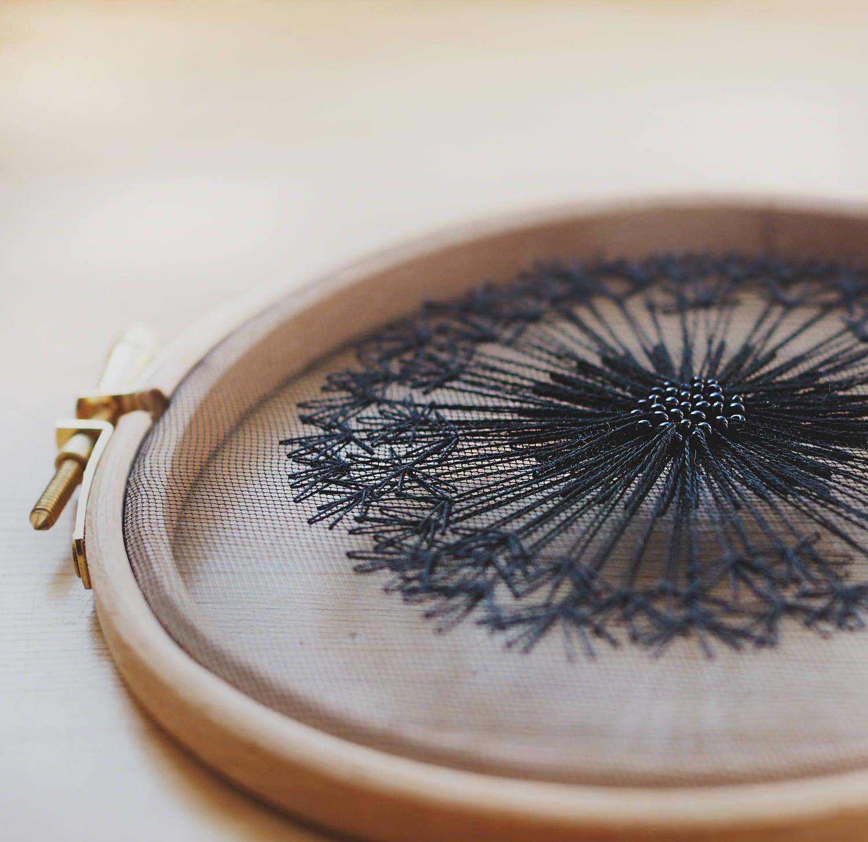 Black dandelion tulle embroidery hoop wall hanging