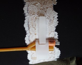 White Lace Catheter Leg Strap