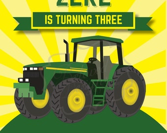 Tractor Birthday Invitation