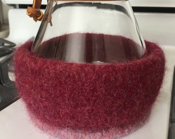 Burgundy and Rose Cozy for 8-Cup Chemex Coffee Brewer