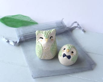 Owls Set. Mint Green Owl and Owlet with Bow. Handmade Ceramic Miniatures. Dad, Son, Grandfather Special gift.