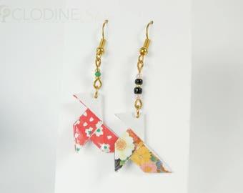 Red & Black pajarita earrings, Origami bird, Origami pajarita, Cocotte origami, Bird jewelry, Paper jewelry, Origami jewelry, Bird, Kawaii