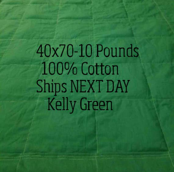 Weighted Blanket, 10 Pound, Green, 40x70, READY TO SHIP, Twin Size, Adult Weighted Blanket, Next Business Day To Ship