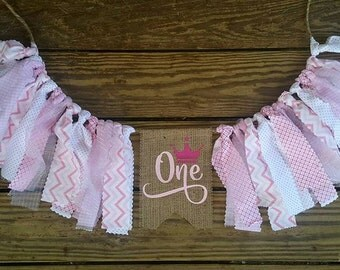 Highchair Banner, Birthday Banner, Garland,Burlap, Rag Tie Garland, Scrappy Fabric Banner, Cake Smash,Photo PropAge Pink Crown Girls