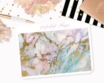 Marble Header Planner Stickers - Opal Pink, Blue, Lilac & Gold Foil Vein // Perfect for Erin Condren Vertical Life Planner