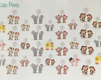 Cute Animal Couples Planner Stickers