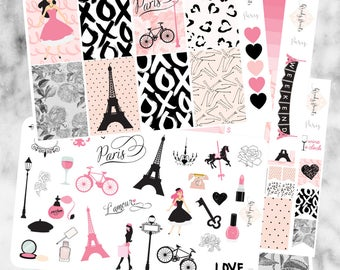W179 Paris HAPPY PLANNER Weekly Kit, Planner Stickers, Sticker Kit, Mambi, Paris, France, Romantic Stickers,Cute Stickers, Travel, Love,Deco