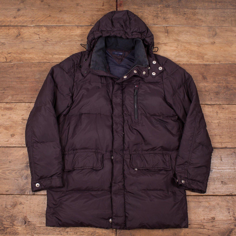 womens vintage tommy hilfiger down puffa jacket coat black. Black Bedroom Furniture Sets. Home Design Ideas