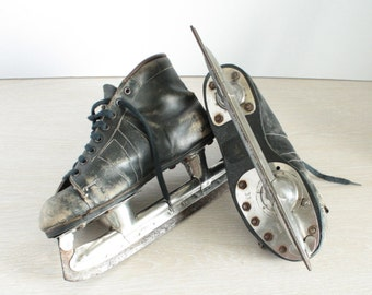 Antique ice skates Black ice skates Vintage ice skates Old ice skates Vintage ice skate shoes Black hockey ice skating made in Soviet Union