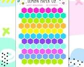 M057 Bright Hexagons // Planner Stickers