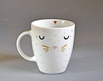 Sleeping Cat Porcelain Mug White Handpainted Cup with Gold Whiskers